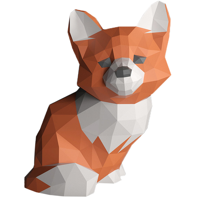 Sad Fox Animal Decor Home Decoration Paper Model Ornaments,Low Poly 3D Papercraft,Handmade DIY Origami Adult Craft Toy RTY210 4