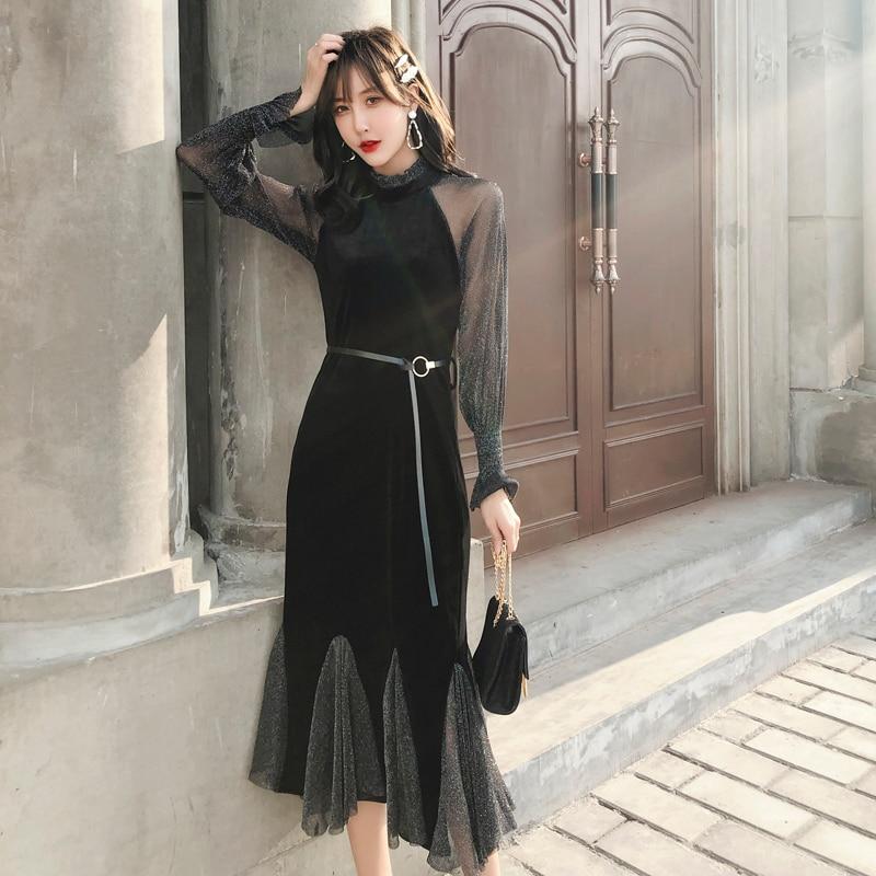 2019 les nouvelles femmes noir bohème robe à manches longues Vintage élégant Sexy Club fête coréenne décontracté dames mode Maxi vêtements
