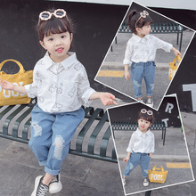 Детская белая рубашка; Новинка года; сезон весна; детская одежда в Корейском стиле; рубашка для девочек с рисунком