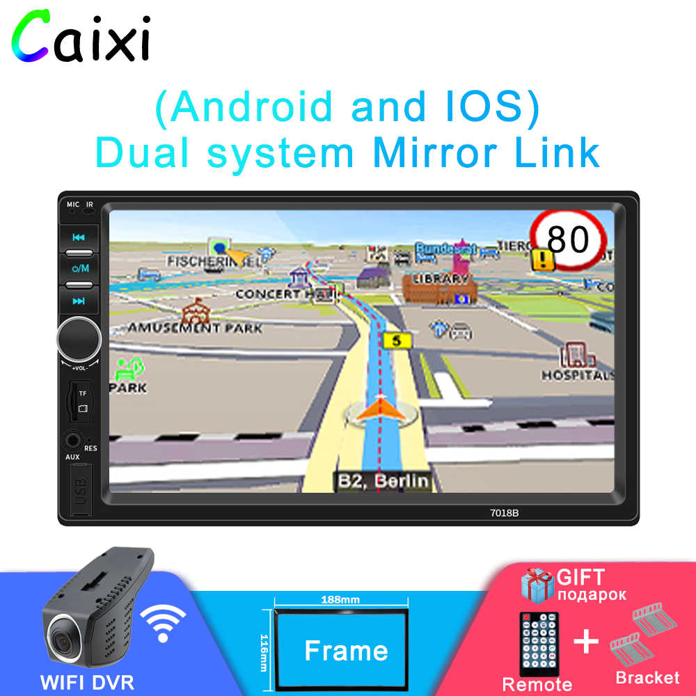 "2DIN Mobil Radio 7 ""HD Auto Radio Multimedia Player 2DIN Layar Sentuh Auto Audio Stereo Mobil MP5 Android dan iPhone Cermin Link"