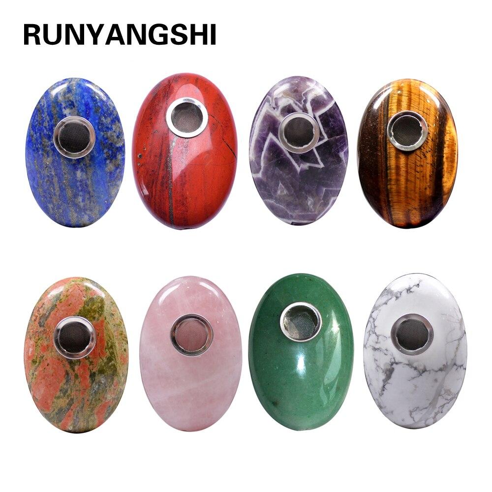Ручки из натурального драгоценного камня и кварца Runyangshi, ручная резка, овальный камень, курительные трубки с 1 щеткой и 3 фильтрами, 1 шт.