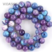 Natural Purple Blue Spotted Rain Flower Stone Beads For Jewelry Making 4 6 8 10 12mm Spacer Diy Bracelet Necklace 15
