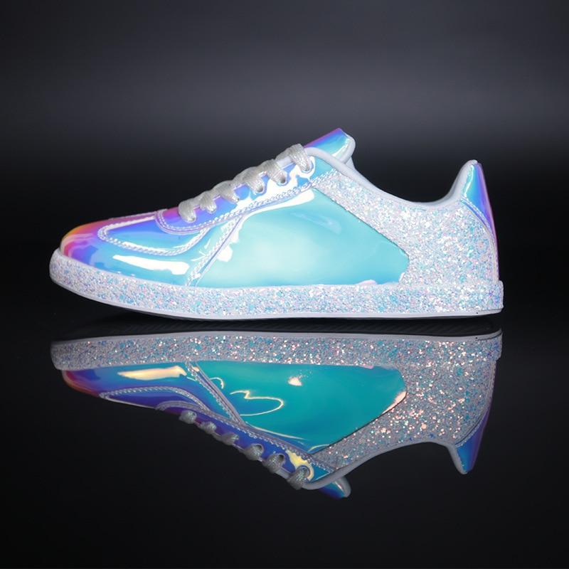 Femmes grosses baskets Bling miroir réfléchissant brillant chaussures femme coloré vulcanisé chaussures baskets femmes Zapatos De Mujer - 2
