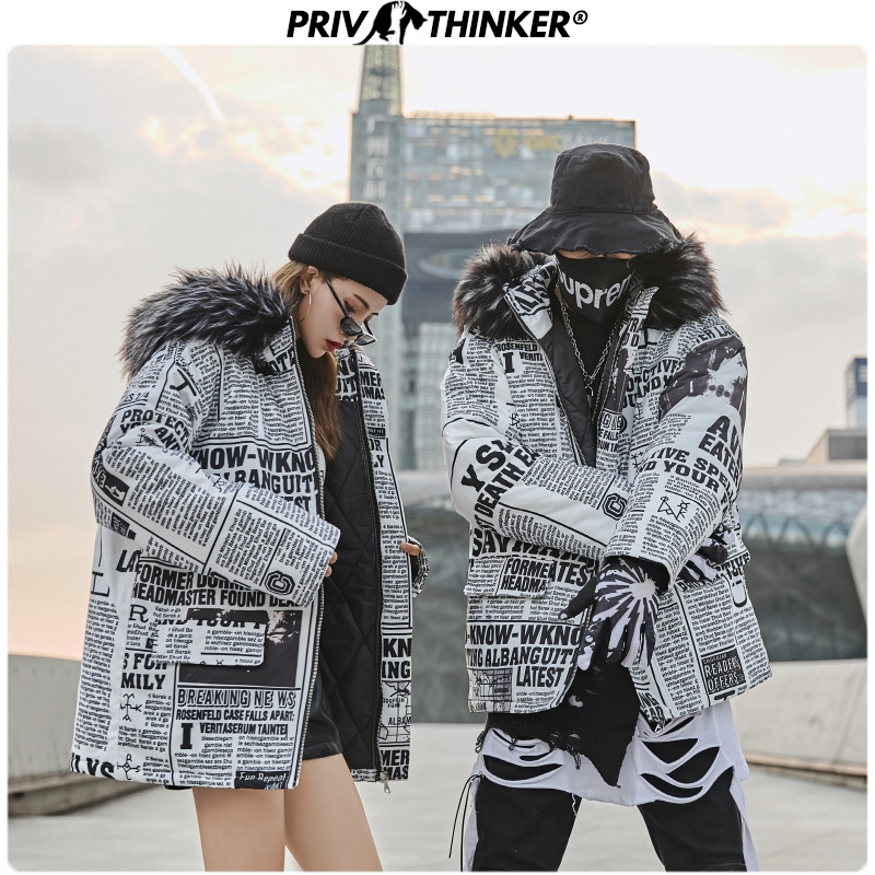 Privathinker Men Woman Fashion Newspaper Print Jacket Parkas Mens 2019 Thick Warm Winter Coat Parka Male Fur Hooded Winderbreak