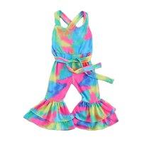 2 uds nuevo conjunto de ropa para niñas pequeñas de algodón TIE-DYE manga acampanada sin espalda mono Rosa mono Sunsuit trajes