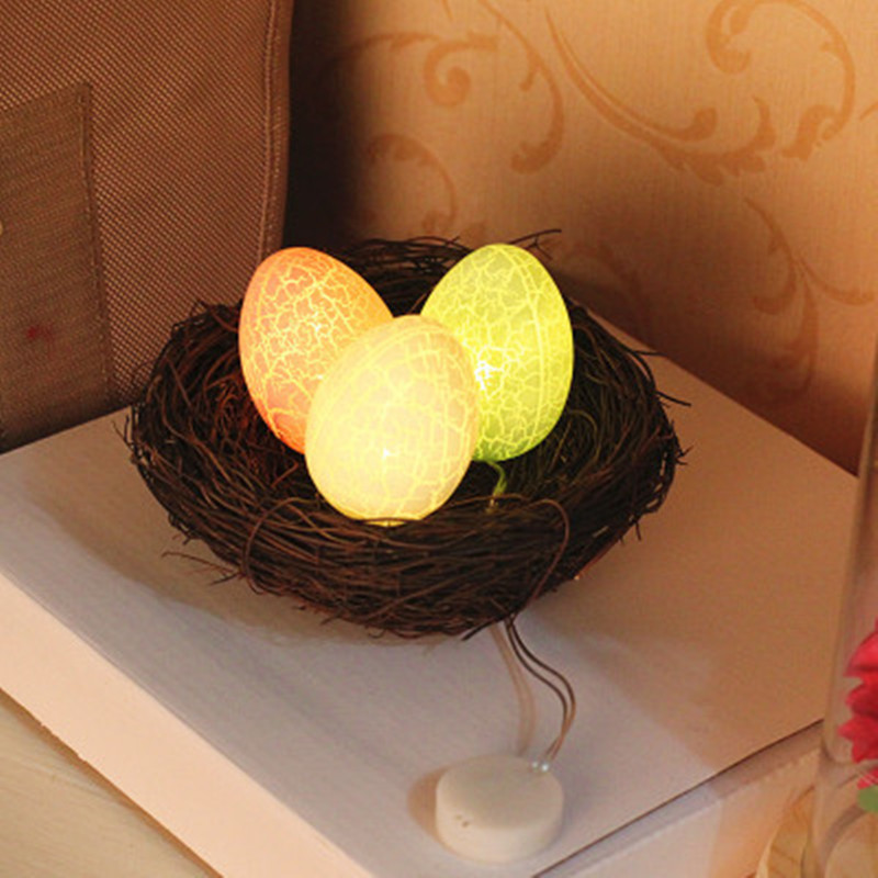 Creative Easter Decoration Led Light Crack Egg Handmade Rattan Woven Straw Woven Bird Nest  Holiday Party Indoor Battery Box Led