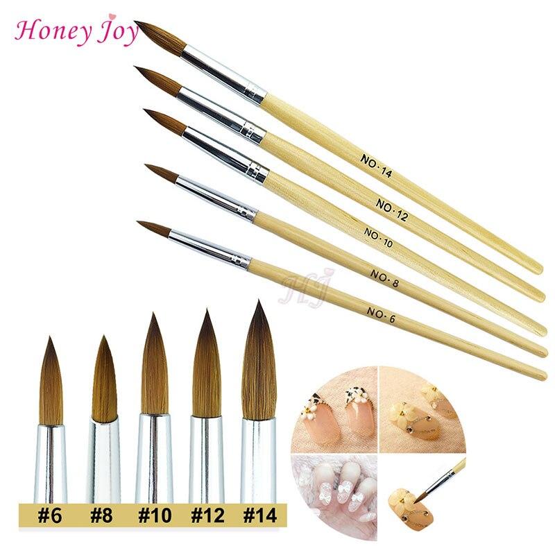 1PC Fiber Hair Wood Acrylic Nail Art Brush Round Size 8/10/12/14 UV Gel Carving Pen Brushes Liquid Powder