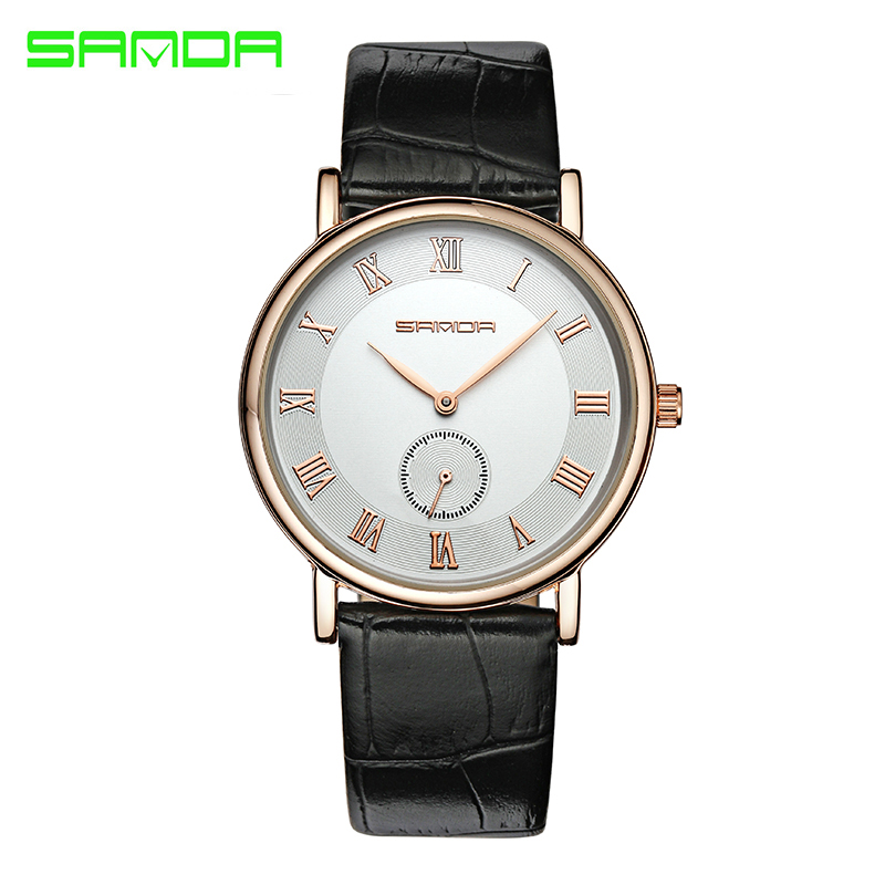 SANDA  Luxury Famous Brands Business Men And Women  Quartz Watch With Fashion Casual Big Dial Wrist Watch Relogio Masculino
