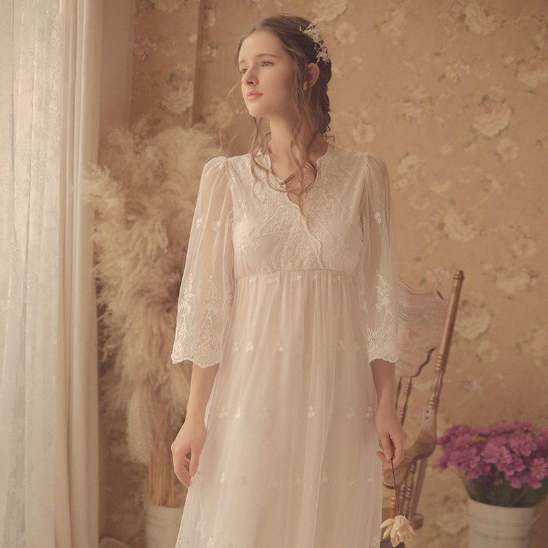 Women Soft Modal Vintage Long Nightgown Autumn Sweet Long Sleeve White Lace Sleepwear Sexy Nightwear  Home Clothes 1801