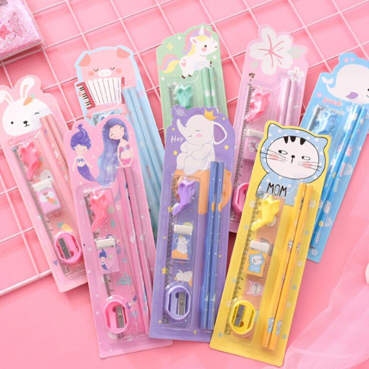 1 Set Kawaii Cartoon Unicorn Rabbit HB Wood Pencils For Kids Sketch Study Pencils With Ruler Eraser Grip Sharpener Gift Set