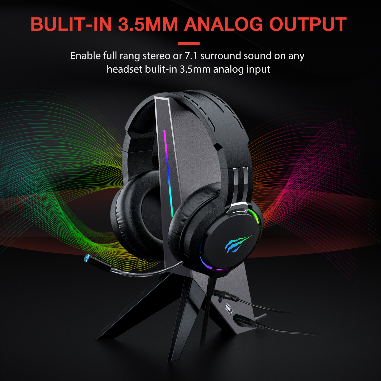 Havit RGB Headphone Stand with 3.5mm AUX and Dual USB Ports 5