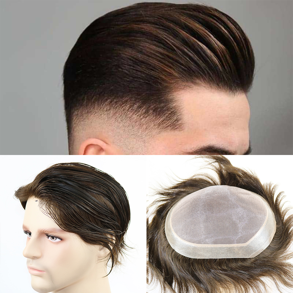 Hair Replacement For Men Mono Lace Top Men's Hair Pieces Replacement System Black Color Human Hair Men'Wig