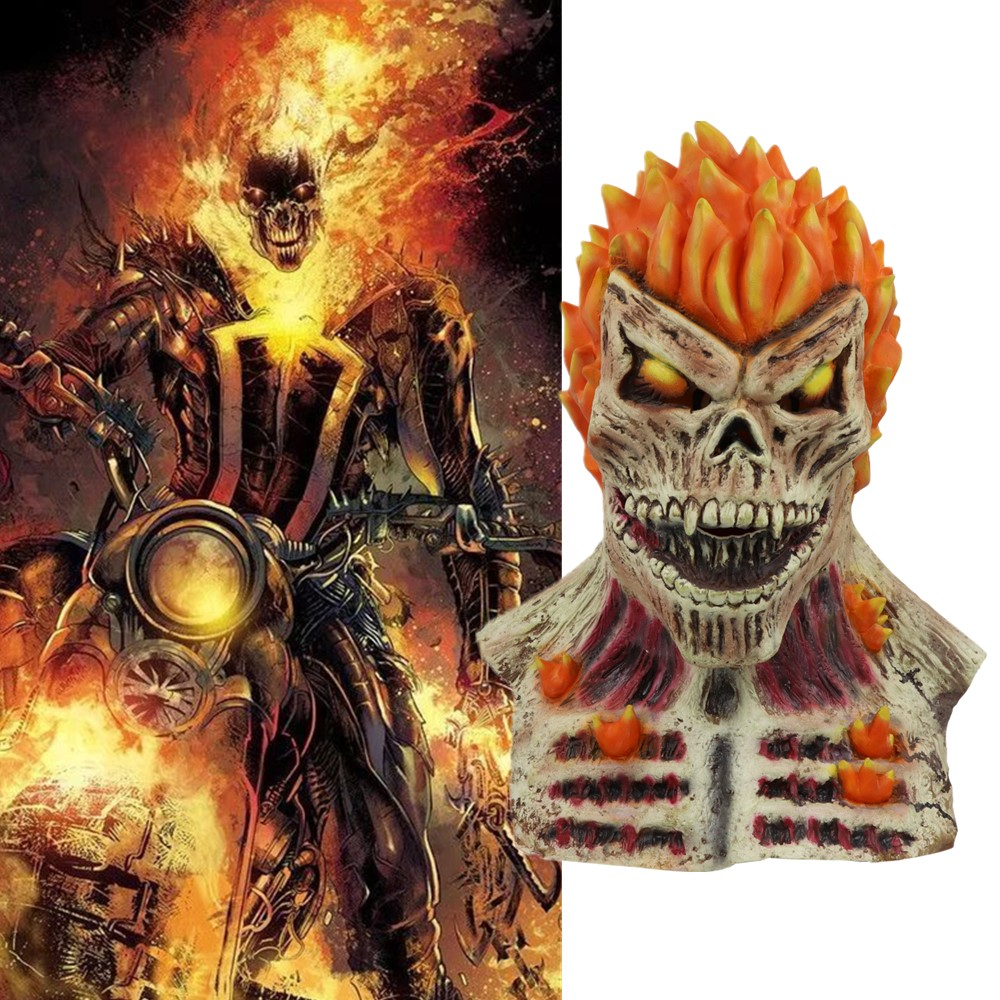 Ghost Rider Masks Flame Male Cosplay Horror Scary Latex Mask Superhore Halloween Party Prop