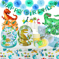 Boys Dinosaur Birthday Paper Cup Paper Plate Tablecloth Dino Roar Happy Birthday Decor Baby Shower Kids One Year Old Balloon
