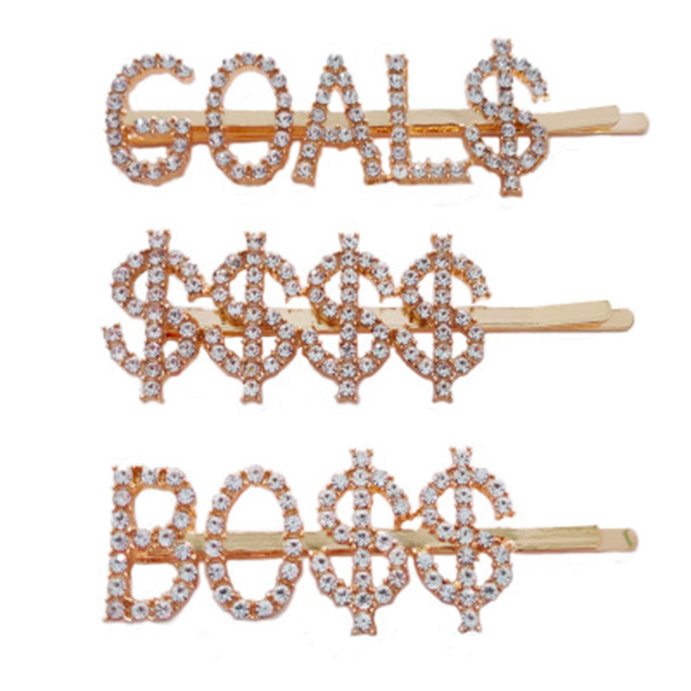 New Fashion English Letter Words Rhinestone Queen Crystal Hair Clip Boss Bride Hairclips Girl Barrette Hair Styling Accessories