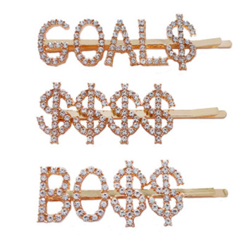 New Fashion English Letter Words Rhinestone Queen Crystal Hair Clip Boss Bride Hairclips Girl Barrette Hair Styling Accessories new arrival hot words hairclips melanin jealous blessed pitiless hair pins great quality hair accessories wholesale