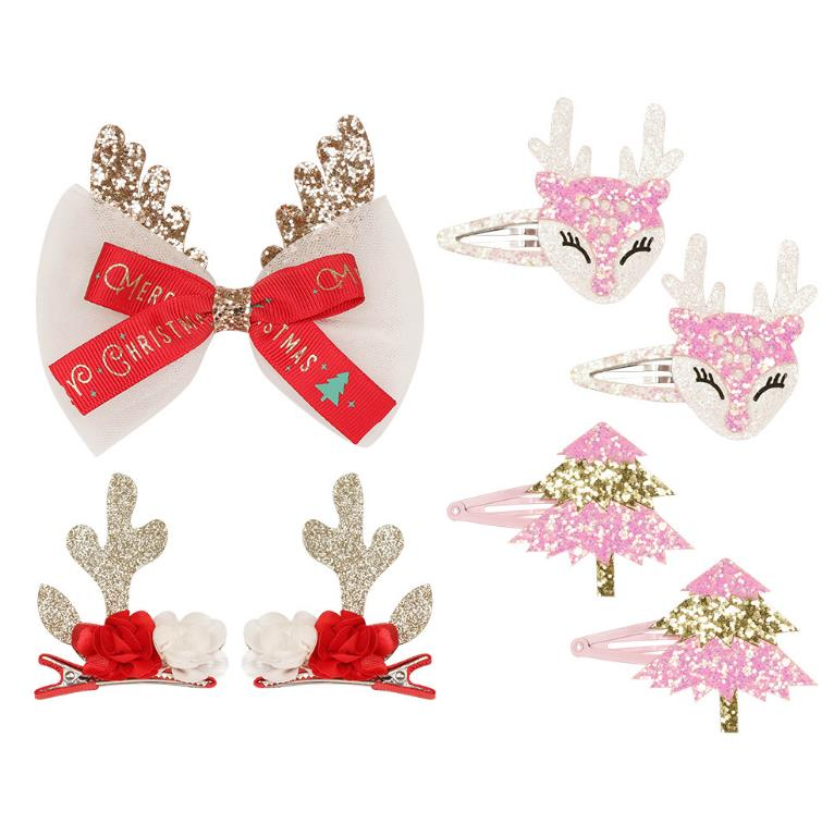 children Cute Christmas Hair Clips Flower Bow Elk Hairpin Party Kids Girls Hair Accessories Xmas New Year Gift