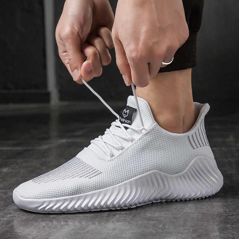 Ayakkabı yeni 2019 marka erkek rahat rahat ayakkabılar yaz nefes erkek ayakkabı örgü ayakkabı Zapatillas Deportivas boyutu 39-47