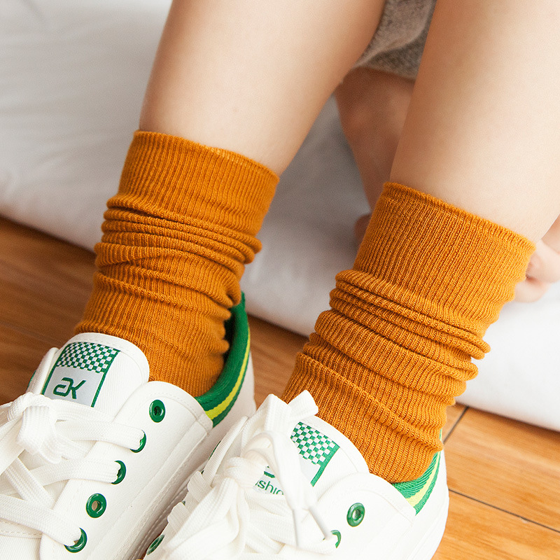 High Quality Japanese Korea High School Girls High Socks Loose Solid Colors Double Needles Knitting Cotton Long Socks Women