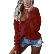 Sweater Women Sexy V Neck Fall 2019 Off Shoulder Jumper Hollow Soft Warm Knitted Sweater Long Sleeve Knitwear Tops grey casual high neck hollow drop shoulder jumper