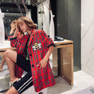 Image 3 - 2020 Autumn cartoon sequins jackets fashion plaid women bf long Blazers