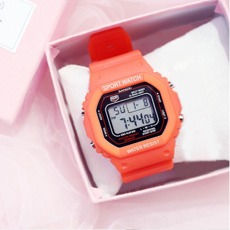 2019 New Multifunction Electronic Sport Woman Watch Waterproof Silicone Student Wristwatches Big Dial Clock relogios femininos