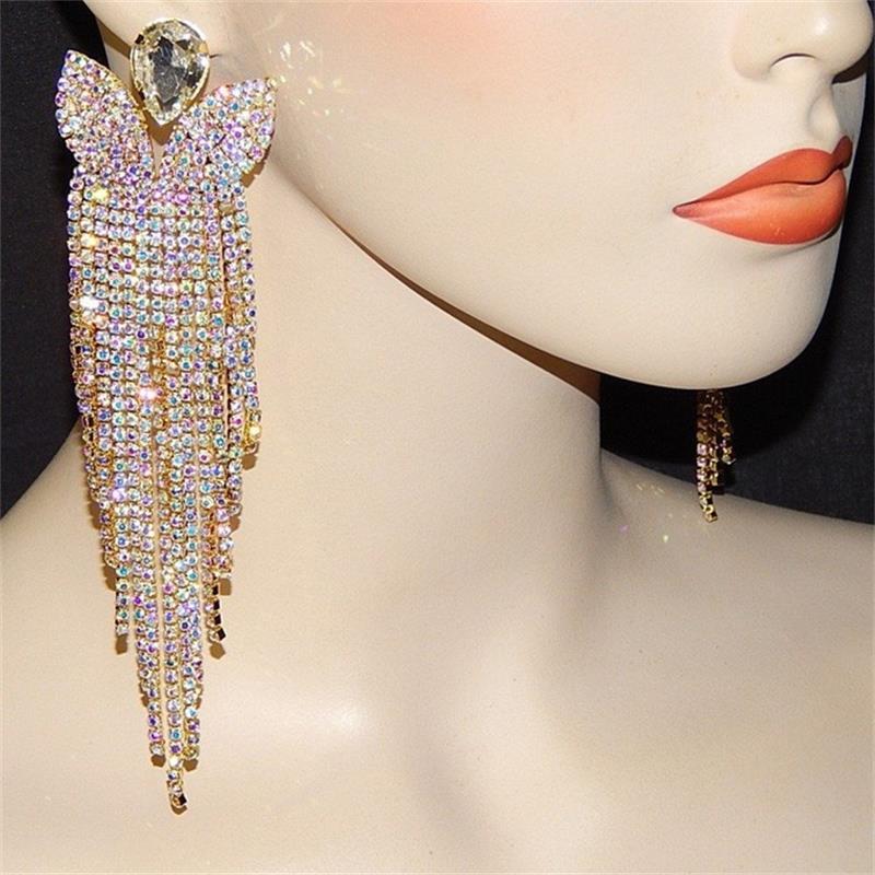 New Luxury Crystal Rhinestone Diamante Long Dangle Drop Earrings Wedding Jewelry