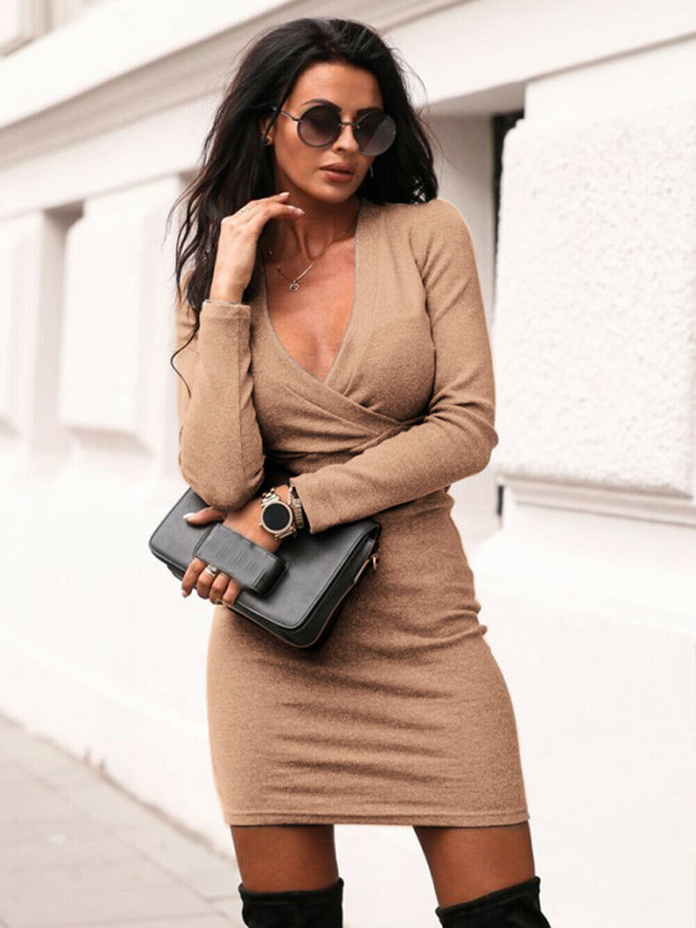 Women Club Bodycon Dress 2019 New Style Long Sleeve Deep V Neck Sexy Night Club Wear Black Blue Celebrity Party Dresses S-XL