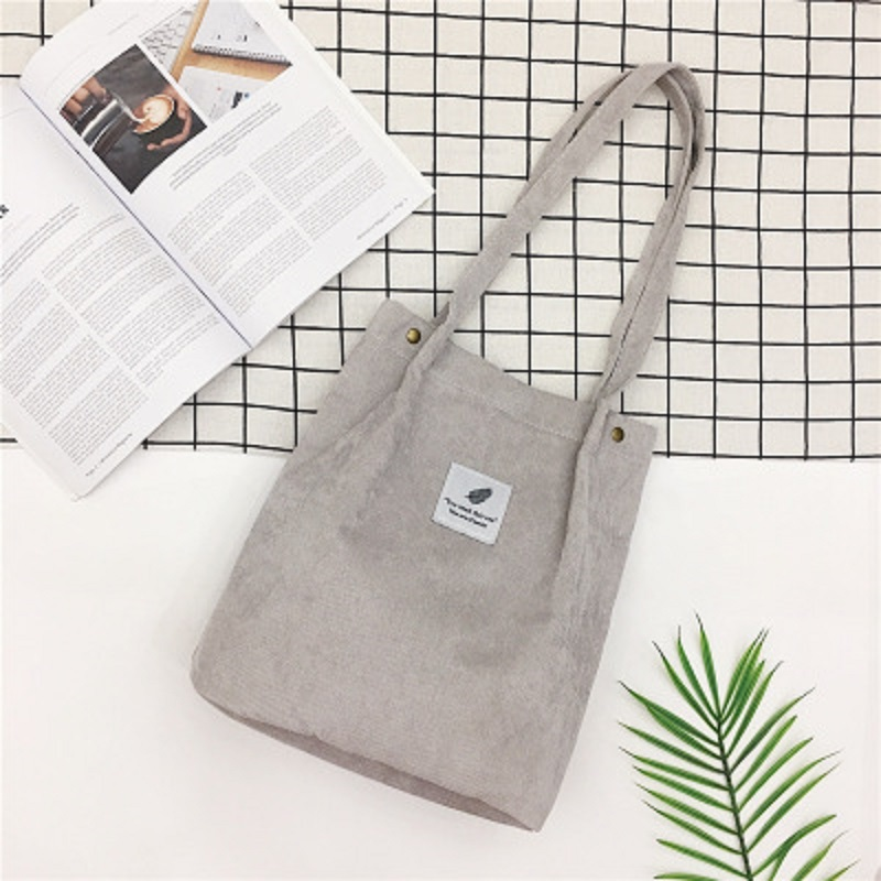 LOOZYKIT, Женские однотонные вельветовые сумки на плечо, сумка для покупок, большая посылка, сумки через плечо, кошельки, Повседневная сумка для женщин, сумка для книг - Цвет: gray