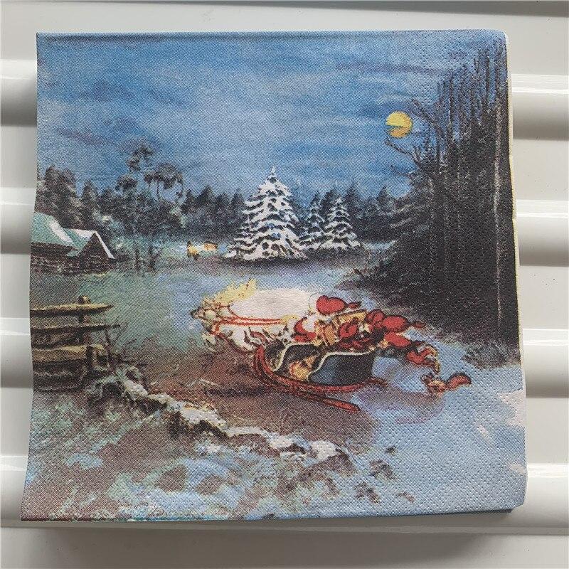 Christmas Paper Napkins Tissue Serviettes Decoupage Decor Wedding Party Festival Santa Claus Bear Sock Snowman Bear Deer Tissue