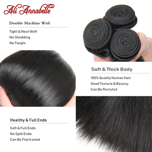 Image 5 - ALI ANNABELLE Straight Hair Bundles With Closure Brazilian Human Hair Bundles With Closure 4x4 Closure With Bundles Straight