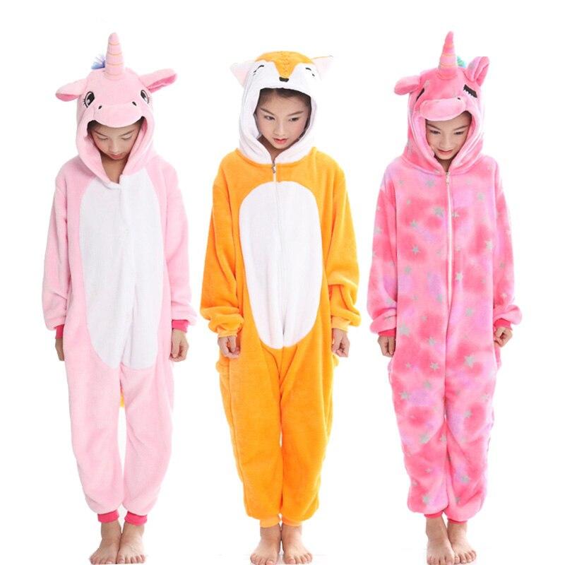 Kigurumi enfants Pyjamas garçons filles couverture à capuche Animal pégase renard tigre Cosplay Onesie hiver pyjama doux enfants Pyjamas