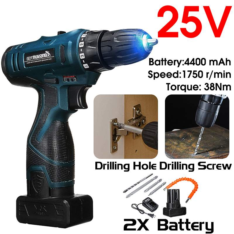 25V 2200mAh lithium-ion <font><b>Battery</b></font> Cordless screwdriver Electric <font><b>drill</b></font> hole electrical Screwdriver hand <font><b>driver</b></font> Wrench power tools image