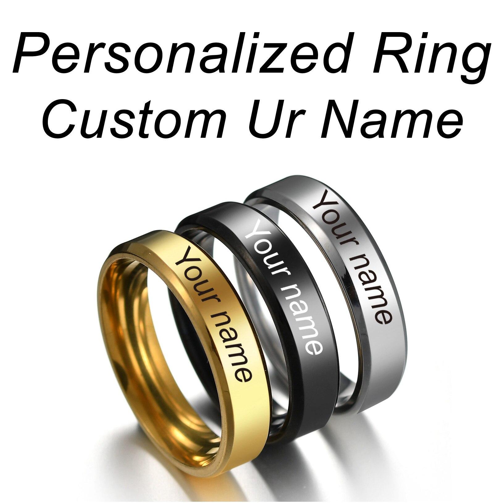 Anel de titânio unissex da caligrafia da assinatura dos homens das mulheres dos homens anéis personalizados de aço inoxidável gravados com seus textos de nome