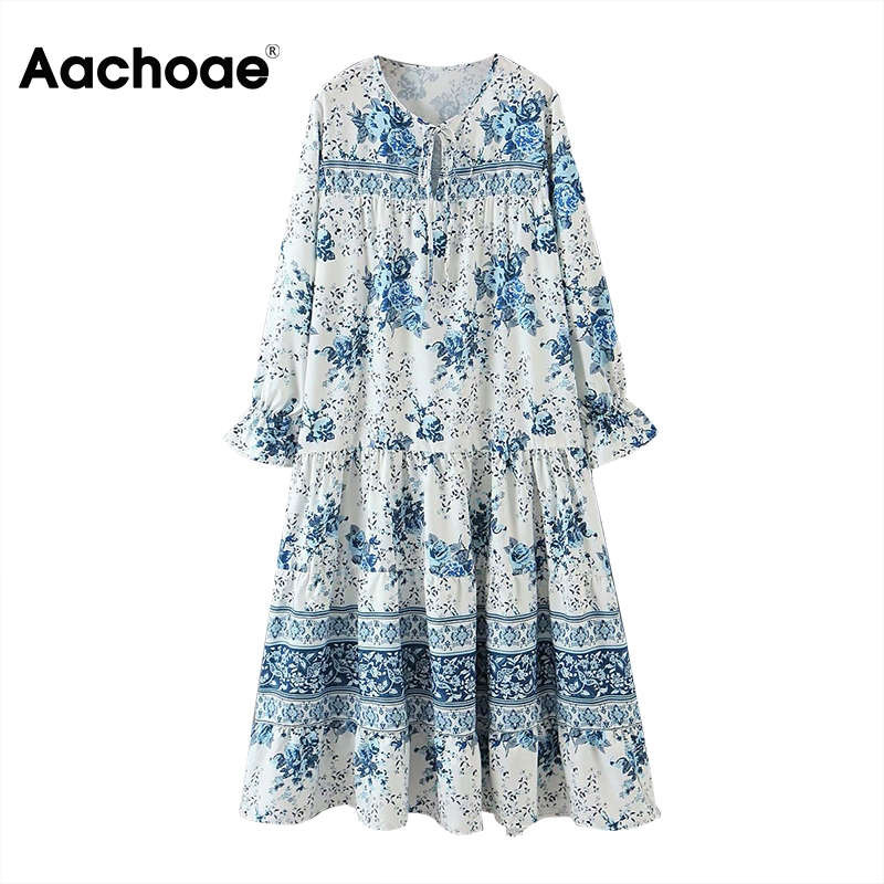 Aachoae Floral Print Pleated Dress Women Bow Tie Collar Loose Midi Dresses Ladies Hollow Out Butterfly Sleeve Casual Long Dress
