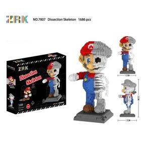 Image 5 - Skull Mini Blocks Assembly Cartoon Model Educational Brick Toys for Children Halloween Gift Fun Skeleton Dissection Present 7821