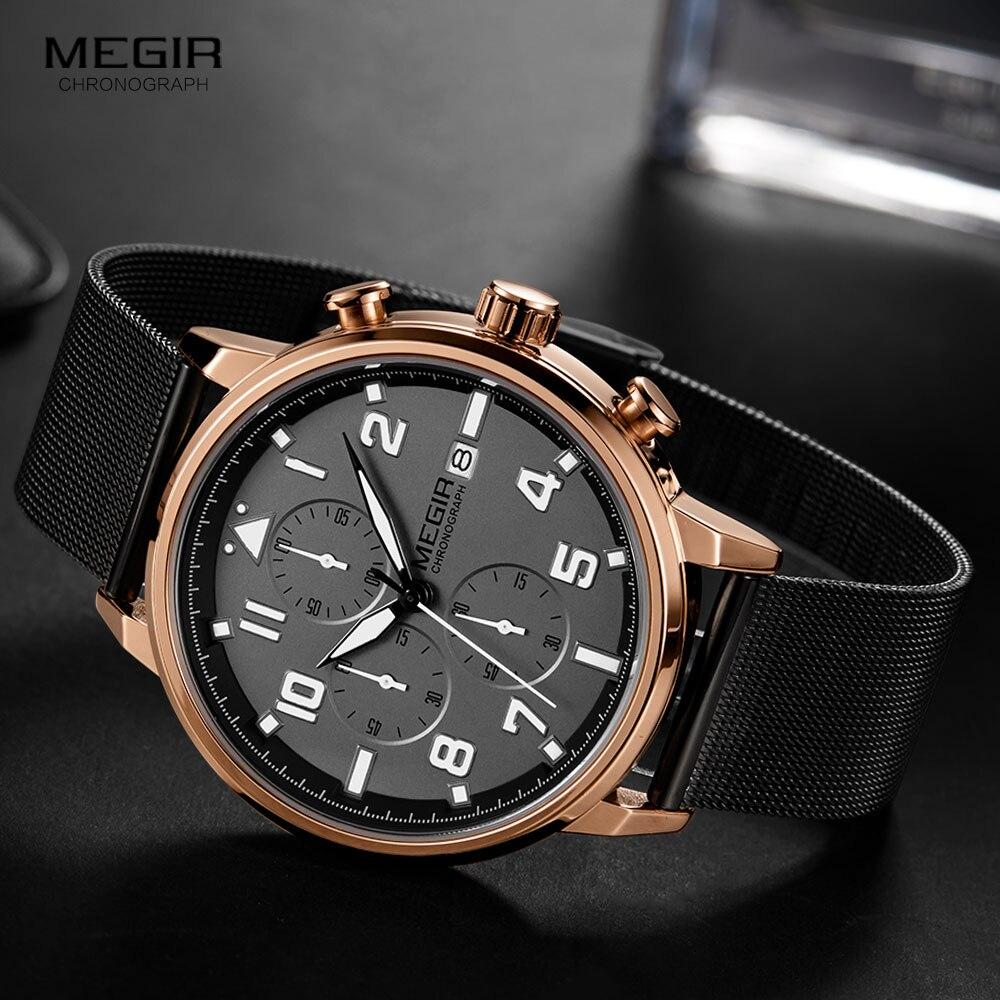 Мужские кварцевые наручные часы с хронографом металлическим