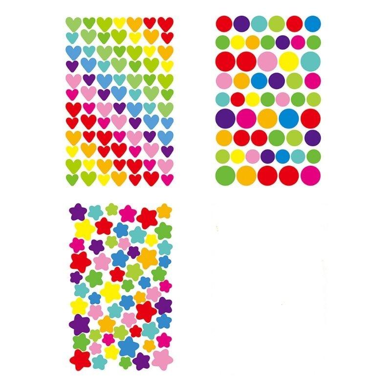 6 Pcs Hand Account Stickers Children Rainbow Heart DIY Glass Album Sticker Decor Y4UD