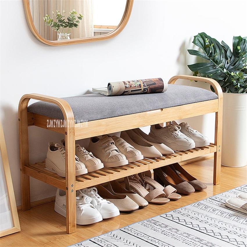 ND190508 salon Double pont bois chaussure armoire de rangement porte créative bois étagère à chaussures moderne tissu chaussures essayer tabouret