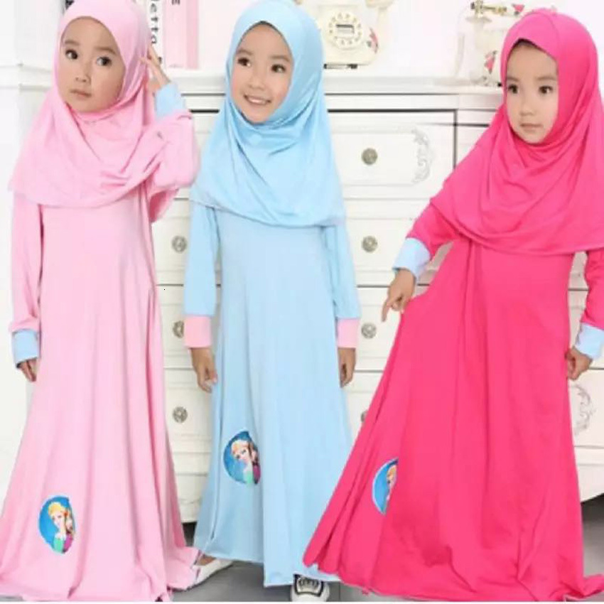 2018 New Fashion Kids Girls Dress With Hear Scarf Muslim Abaya Islamic Cosplay Costumes Turkish Dubai Arabic Hijab Girls Dresses