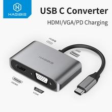 Hagibis USB C HDMI VGA Adapter Typ C zu HDMI 4K Thunderbolt 3 für Samsung Galaxy S10/S9 /S8 Huawei Mate 20/P30 Pro USB C Zu HDMI