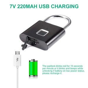 Image 4 - Smart Fingerprint Padlock Lock USB Rechargeable IP65 Waterproof No App Lock indoor and outdoor for Lockers Bags Luggages Storage