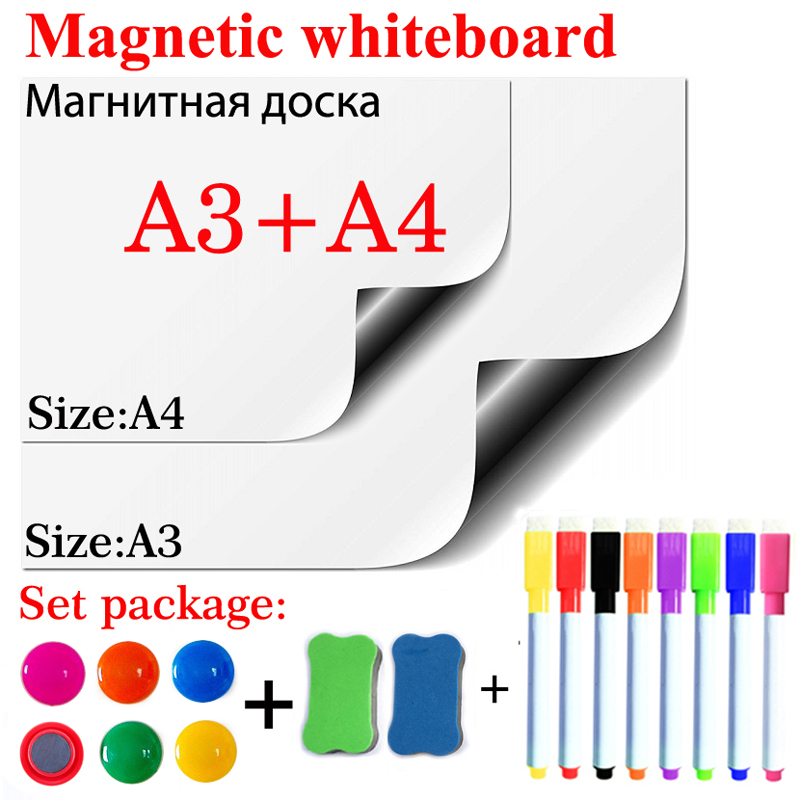 Magnetic Whiteboard Dry Erase White Board School Office Kitchen Message Board A3+A4 Size Gift 8 Pen 2 Eraser 6 Magnetic Tacks