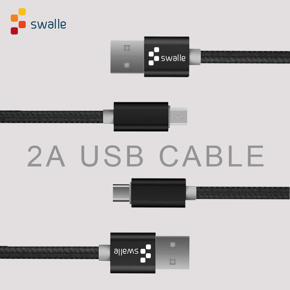 Swalle 2A Micro USB Kabel Nilon Cepat Pengisian Kabel untuk I Phone Sam Sung Ponsel Tipe-C Usb kabel Pengisian Pengiriman Cepat