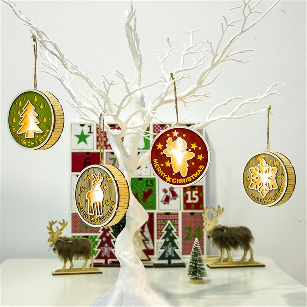 Christmas Light Wooden Hanging Lamp Snowflake Elk Round Pendant Ornaments For Christmas Tree Home Window Decoration