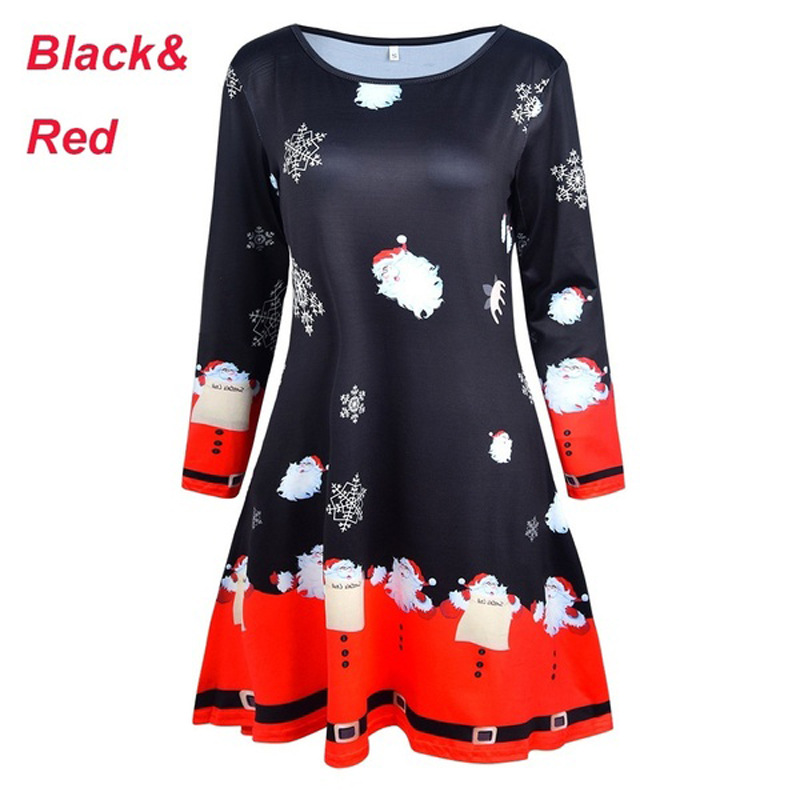 Santa Dress Christmas Casual Print Clothing Woman Party Night Fall Women Deer Christmas Tree Plus Size Dresses