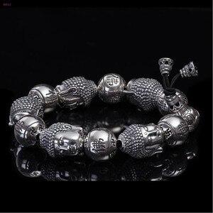 Image 2 - BOCAI  Buddha S999 pure Silver Bracelet Pure silver bracelet man Thai silver mens Buddha beads Bracelet Silver Bracelet for men