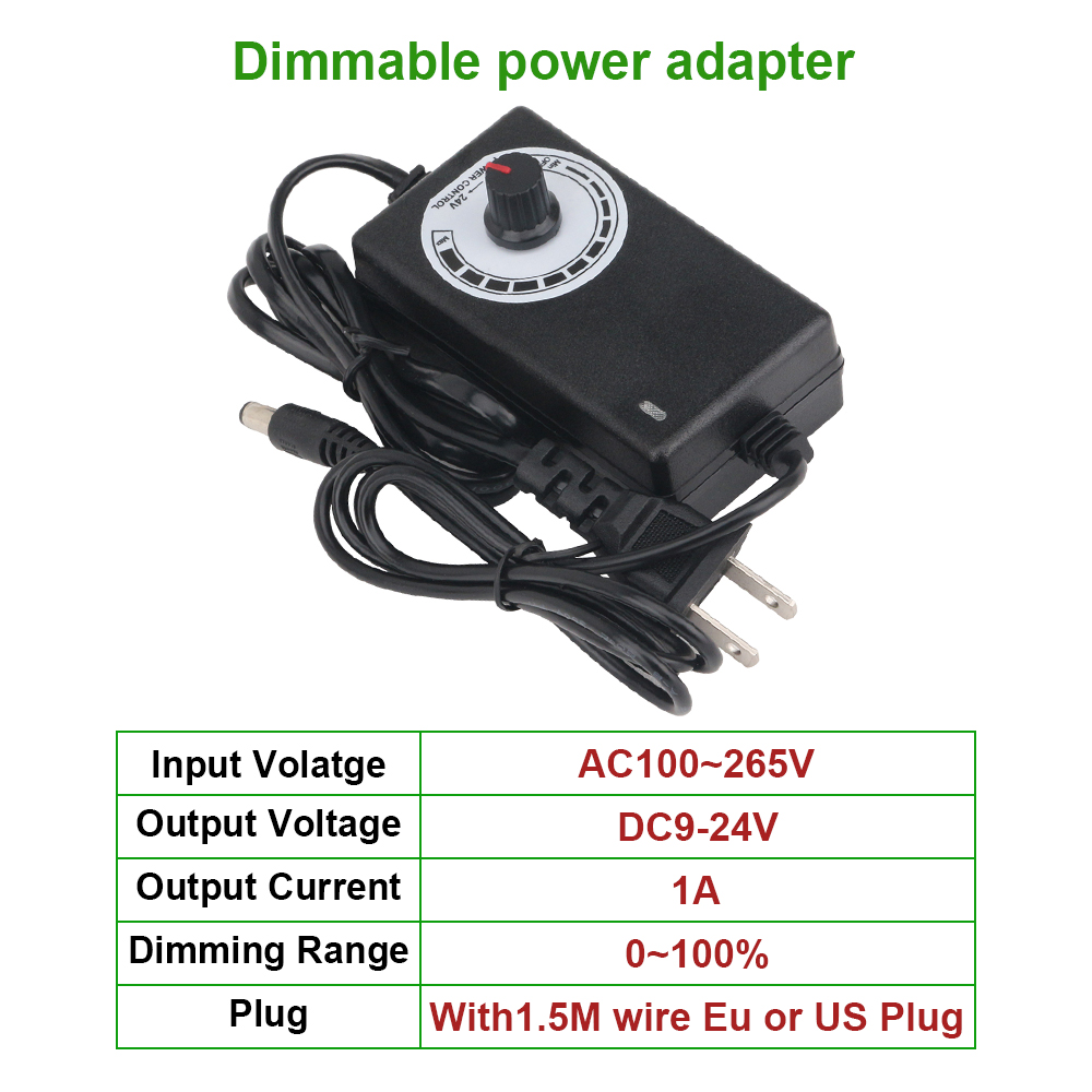 DC9-24V 1A Lighting Transformers Dimmable Power Adapter for LED STRIP LIGHT AC100-265V LED Driver no additional dimmers needed