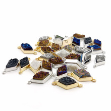 Natural Stone slice quadrilateral 9X18MM Agat Pendants Double hole connector for Jewelry Making DIY Necklaces Accessories 1pcs