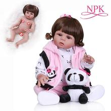 NPK 48CM newborn baby doll reborn toddler girl in panda dress full body soft silicone can bath Anatomically Correct